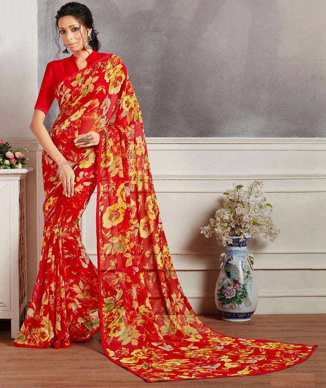 Red and Yellow Color Georgette Casual Wear Saree -  Keshvi Collection  YF#10592