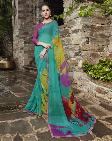Green Color Georgette Party Wear Sarees : Runzun Collection  YF-46460