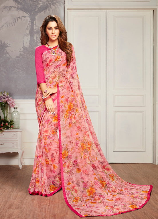 Pink Color Georgette Casual Wear Saree -  Keshvi Collection  YF#10593