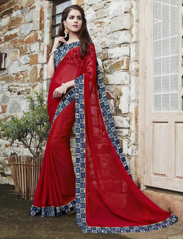 Red Color Georgette Party Wear Sarees : Runzun Collection  YF-46462