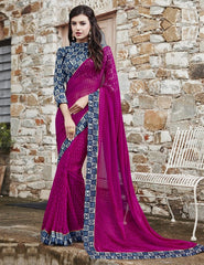 Rani Pink Color Georgette Party Wear Sarees : Runzun Collection  YF-46463