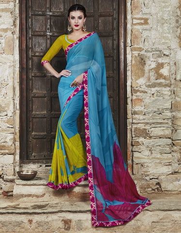 Firozi & Pink Color Georgette Party Wear Sarees : Runzun Collection  YF-46464