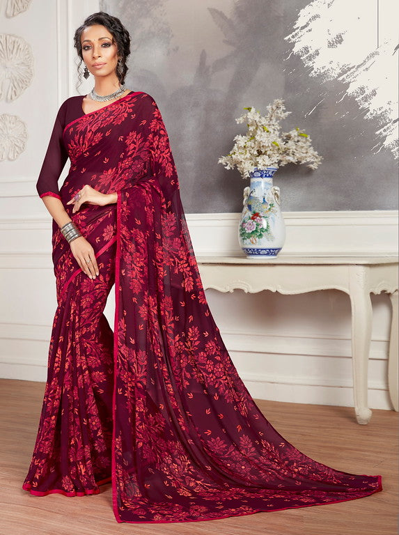Magenta Color Georgette Casual Wear Saree -  Keshvi Collection  YF#10596