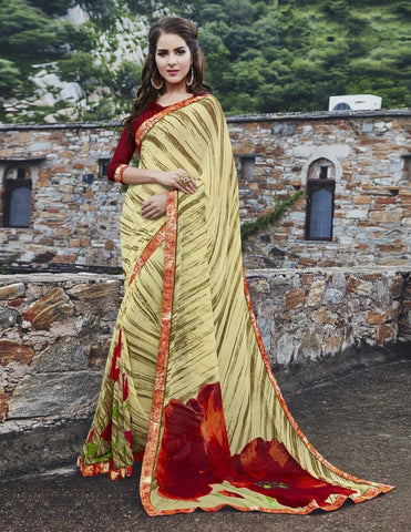 Light Yellow Color Georgette Party Wear Sarees : Runzun Collection  YF-46465