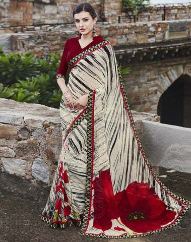 Off White Color Georgette Party Wear Sarees : Runzun Collection  YF-46466