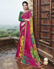 Pink Color Georgette Party Wear Sarees : Runzun Collection  YF-46467