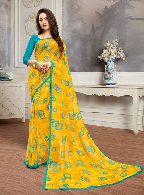 Yellow and Blue Color Georgette Casual Wear Saree -  Keshvi Collection  YF#10599