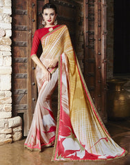 Pink & Peach Color Georgette Party Wear Sarees : Runzun Collection  YF-46468