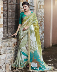 Shades Of Green Color Georgette Party Wear Sarees : Runzun Collection  YF-46469