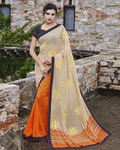 Cream & Orange Color Georgette Party Wear Sarees : Runzun Collection  YF-46472