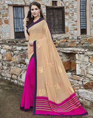 Peach & Rani Pink Color Georgette Party Wear Sarees : Runzun Collection  YF-46473