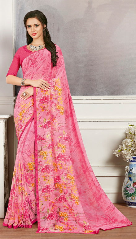 Pink Color Georgette Casual Wear Saree -  Keshvi Collection  YF#10603