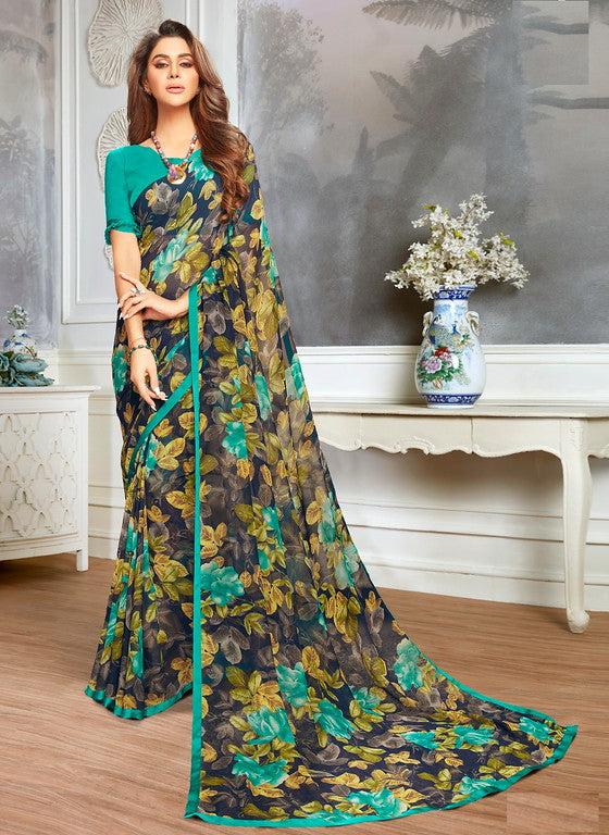 Black and Blue Color Georgette Casual Wear Saree -  Keshvi Collection  YF#10604