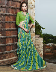 Light & Dark Green Color Georgette Party Wear Sarees : Runzun Collection  YF-46474
