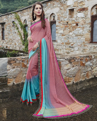 Pink & Firozi Color Georgette Party Wear Sarees : Runzun Collection  YF-46476