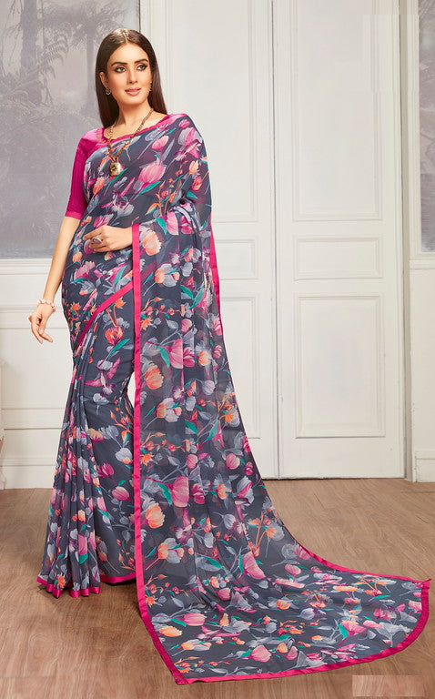 Charcoal Grey and Pink Color Georgette Casual Wear Saree -  Keshvi Collection  YF#10606