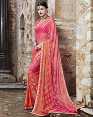 Pink & Orange Color Georgette Party Wear Sarees : Runzun Collection  YF-46478