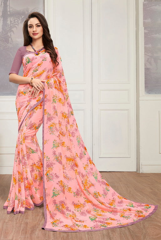 Pink Color Georgette Casual Wear Saree -  Keshvi Collection  YF#10608