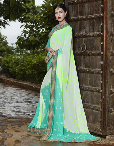 Off White & Green Color Georgette Party Wear Sarees : Runzun Collection  YF-46480