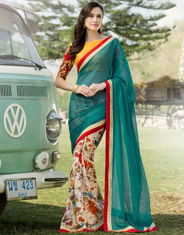 Rama Green Color Georgette Festival & Function Wear Sarees : Nikara Collection  YF-41119
