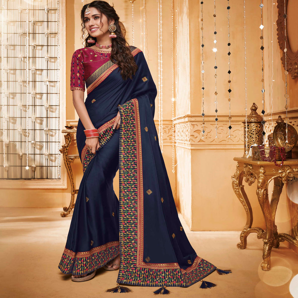 Blue Color Silk Beautiful Occasion Wear Sarees NYF-4180 - YellowFashion.in