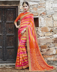 Orange & Pink Color Georgette Party Wear Sarees : Runzun Collection  YF-46483
