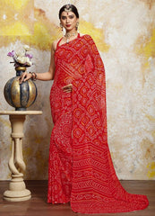 Red Color Chiffon Casual Bandhej Sarees : Rangrit Collection  YF-52757