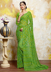 Green Color Chiffon Casual Bandhej Sarees : Rangrit Collection  YF-52758