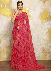 Pink Color Chiffon Casual Bandhej Sarees : Rangrit Collection  YF-52759
