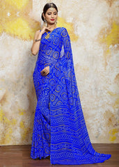 Blue Color Chiffon Casual Bandhej Sarees : Rangrit Collection  YF-52760
