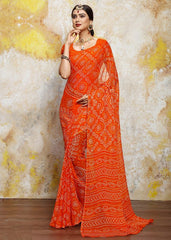 Orange Color Chiffon Casual Bandhej Sarees : Rangrit Collection  YF-52761