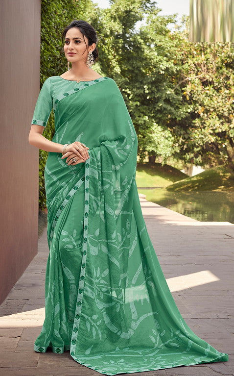Sea Green Color Georgette Casual Wear Saree-  Orchid Collection  YF#11491
