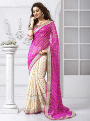 Cream & Pink Color Half Wrinkle Chiffon & Half Fancy Festival & Function Sarees : Rakshita Collection  YF-28070
