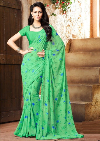 Green Color Georgette Kitty Party Sarees : Madhurima Collection  YF-47834