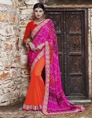 Orange & Pink Color Georgette Party Wear Sarees : Runzun Collection  YF-46484