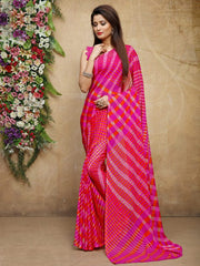 Pink Color Chiffon Casual Bandhej Sarees : Rangrit Collection  YF-52762