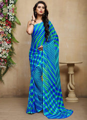 Blue & Green Color Chiffon Casual Bandhej Sarees : Rangrit Collection  YF-52763