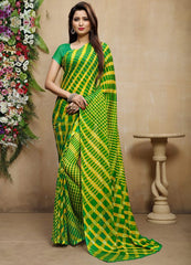 Yellow & Green Color Chiffon Casual Bandhej Sarees : Rangrit Collection  YF-52764