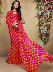 Red & pink Color Chiffon Casual Bandhej Sarees : Rangrit Collection  YF-52765