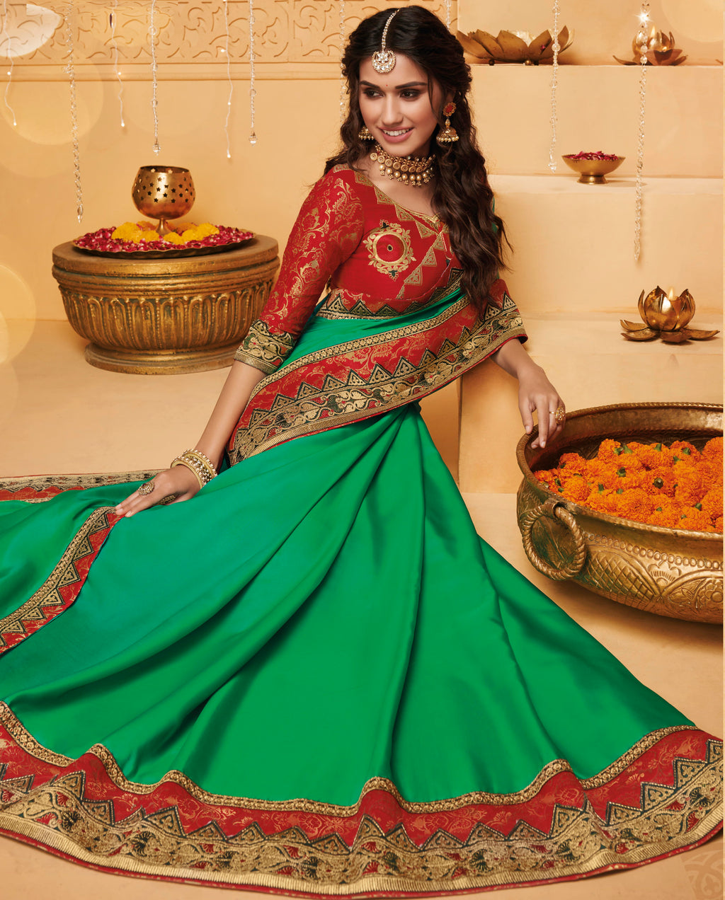 Green Color Silk Beautiful Occasion Wear Sarees NYF-4182 - YellowFashion.in