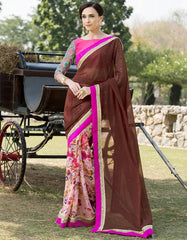 Brown & Baby Pink Color Georgette Festival & Function Wear Sarees : Nikara Collection  YF-41122