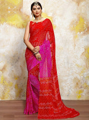 Red & pink Color Chiffon Casual Bandhej Sarees : Rangrit Collection  YF-52766