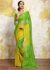Yellow & Green Color Chiffon Casual Bandhej Sarees : Rangrit Collection  YF-52767
