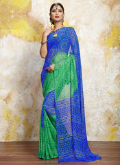 Blue & Green Color Chiffon Casual Bandhej Sarees : Rangrit Collection  YF-52768