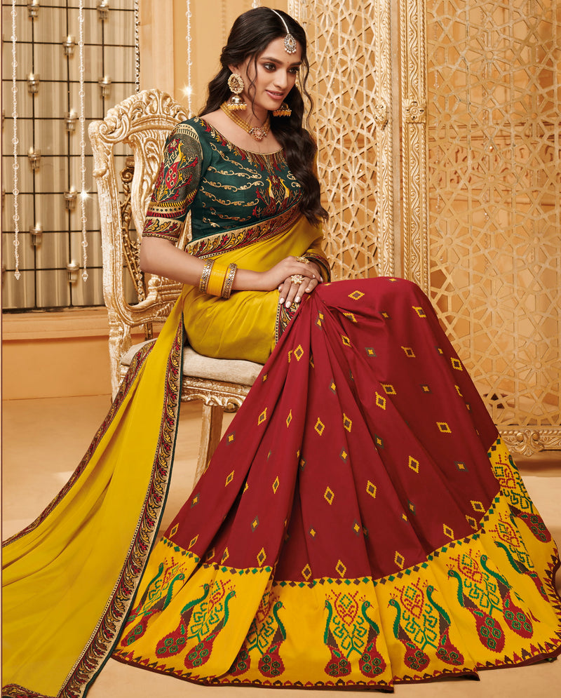 Yellow & Maroon Color Silk Beautiful Occasion Wear Sarees NYF-4183 - YellowFashion.in