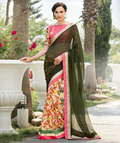 Mehendi Green Color Georgette Festival & Function Wear Sarees : Nikara Collection  YF-41123