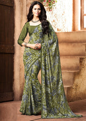 Mehendi Green Color Georgette Kitty Party Sarees : Madhurima Collection  YF-47837