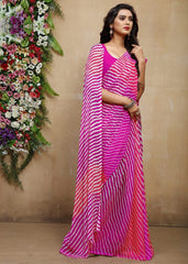 Pink Color Chiffon Casual Bandhej Sarees : Rangrit Collection  YF-52769