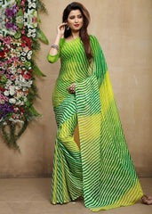 Green & Yellow Color Chiffon Casual Bandhej Sarees : Rangrit Collection  YF-52770