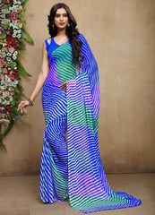 Blue & Green Color Chiffon Casual Bandhej Sarees : Rangrit Collection  YF-52772